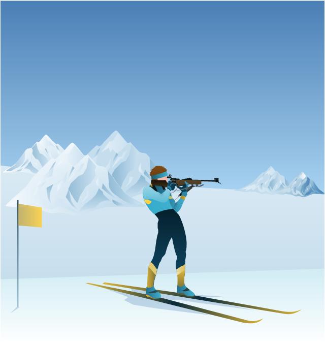 ,  winter sports vector clipart, Winter Olympics vector clipart, biathlon shooter, biathlon