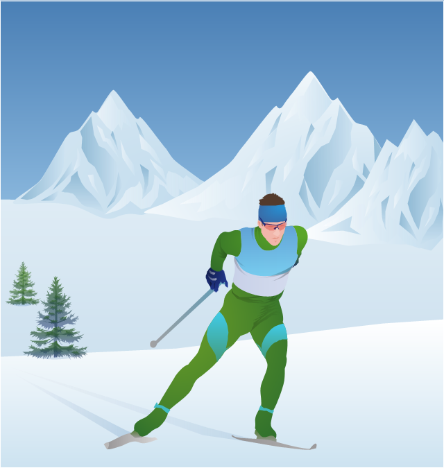 ,  winter sports vector clipart, Winter Olympics vector clipart, tree, cross-country skier