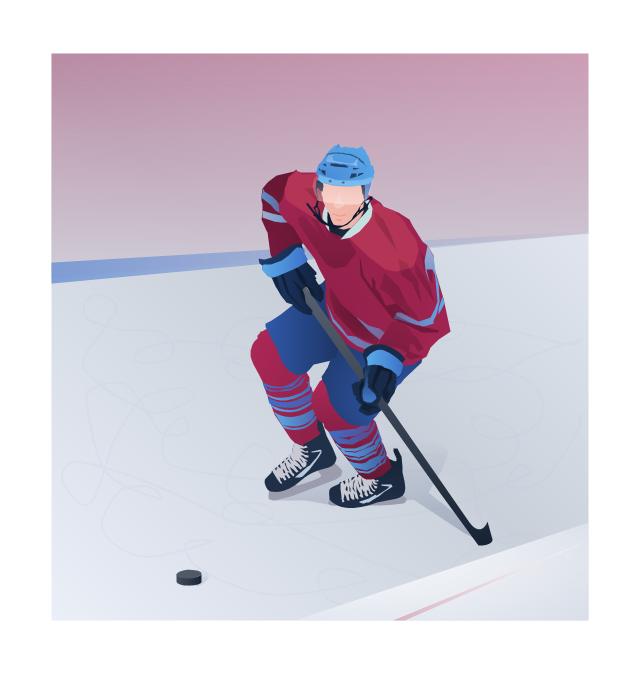Vector clip art, ice hockey player,