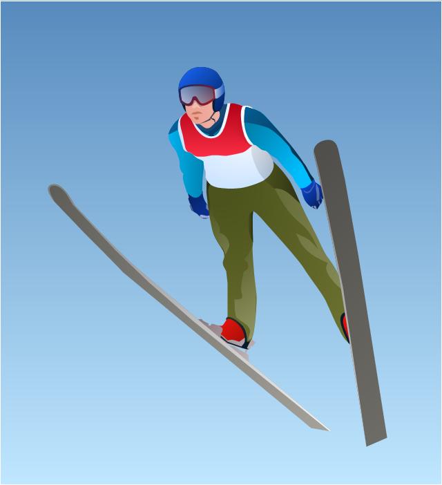 Vector clip art, ski jumper, ski jumping,