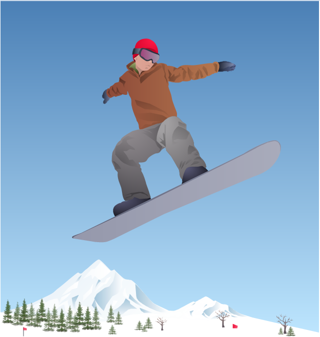 ,  winter sports vector clipart, Winter Olympics vector clipart, tree, snowboarding, snowboarder, snowboard