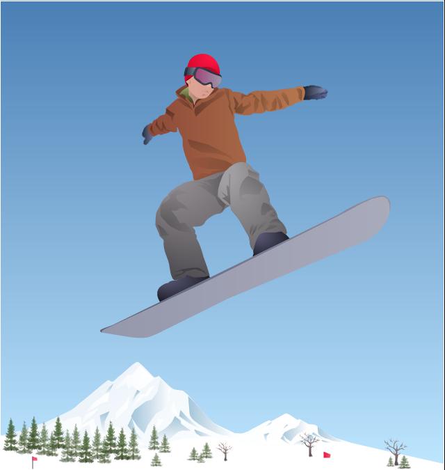 Vector clip art, tree, snowboard, snowboarder, snowboarding,