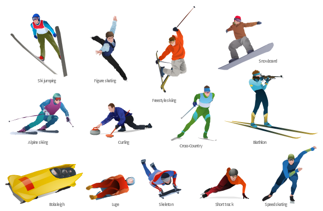 Winter sports - Vector clip art, speed skating, speed skater, snowboard, snowboarder, snowboarding, ski jumper, ski jumping, skeleton, short track skater, short track, luge, freestyle skier, freestyle skiing, freestyle, figure skating, figure skater, free skating, curling, cross-country skier, bobsleigh, biathlon, biathlon shooter, alpine skier,