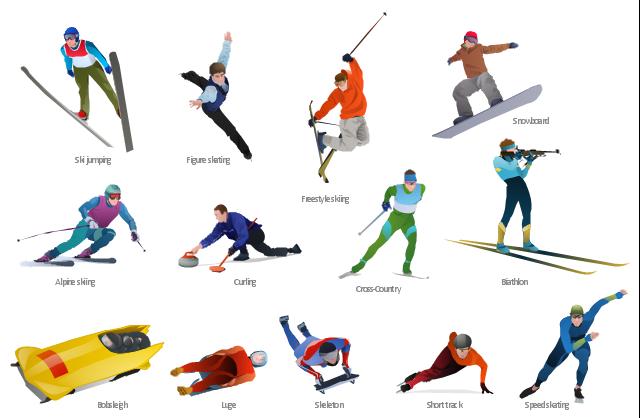 Winter sports,  winter sports vector clipart, Winter Olympics vector clipart, speed skating, speed skater, snowboarding, snowboarder, snowboard, ski jumping, ski jumper, skeleton, short track skater, short track, luge, freestyle skiing, freestyle skier, freestyle, free skating, figure skating, figure skater, curling, cross-country skier, bobsleigh, biathlon shooter, biathlon, alpine skier