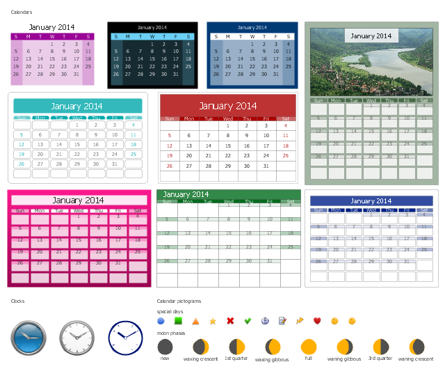 Calendars and clocks, special day, moon phase, month calendar, clock,
