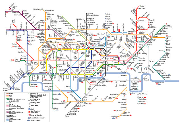 London tube map, transfer station,