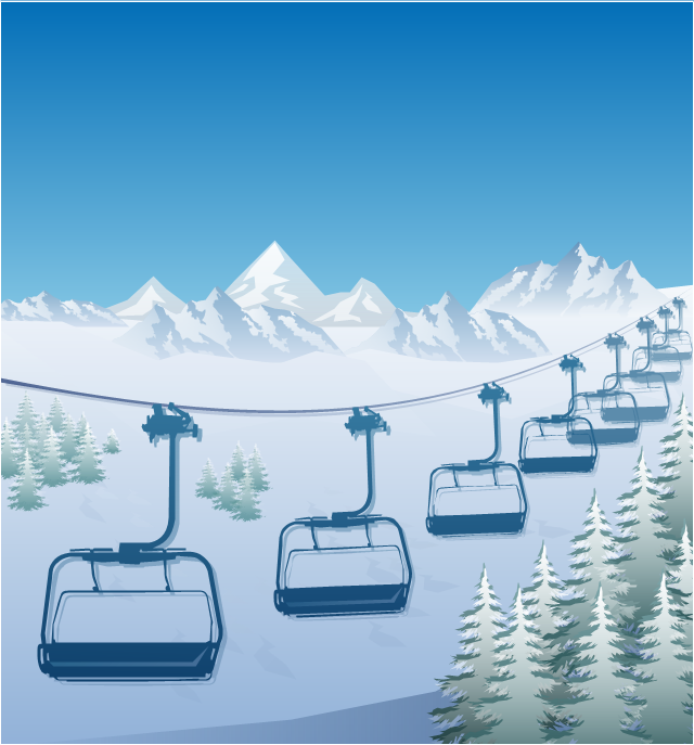 Winter sport illustration, ski lift ride, ski lift silhouette,