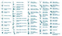 Qualifying symbols, special connector, cable indicator, radiation, radiation travel, direction, positive polarity, phase, windings, wire, connection, zigzag, phase, windings, wire, connection, star, phase, windings, wire, connection, polygon, phase, windings, wire, connection, fork, phase, windings, wire, connection, double star, phase, windings, wire, connection, double delta, phase, windings, wire, connection, delta, phase, windings, wire, connection, neutral, conductor, negative polarity, multiple-phase, electret, coaxial line, coaxial,