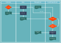 Cross-functional flow chart, vertical swimlanes, process, document, decision,