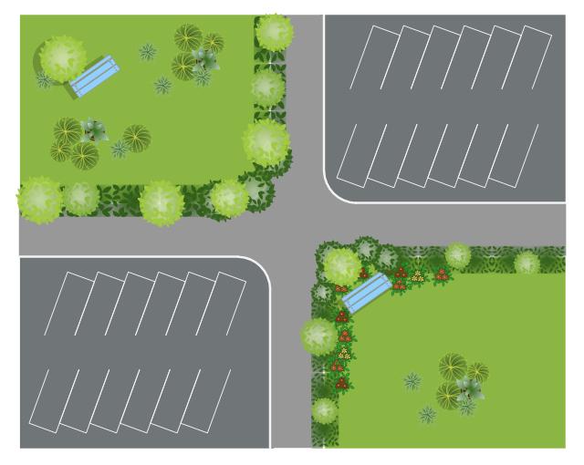Landscape design, succulent, potted plant, parking strip, ornamental grass, intersection, groundcover, broadleaf hedge, broadleaf evergreen tree, bench,