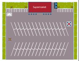 Site plan, perennial border, parking strip, lamp post, fire hydrant, dumpster, bollard line, bollard, bike rack,