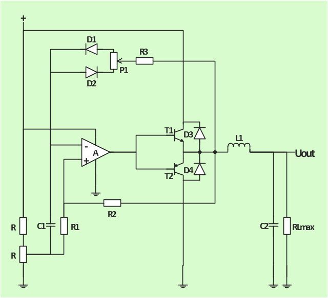 Circuit diagram, operational amplifier, junction, ground connection, ground, fixed resistor, resistor, fixed capacitor, capacitor, bipolar transistor, bipolar junction transistor, BJT, PNP, bipolar transistor, bipolar junction transistor, BJT, NPN, air inductor, inductor,