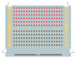 Movie theater seat layout, stair, door, chair block,