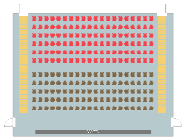 Movie theater seat layout, stair, door, chair block,