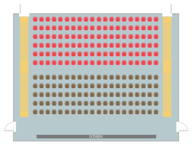 Seating plan, stair, door, chair block,