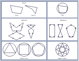 Polygon types, triangle, square, sector, rectangle, pentagon, isosceles trapezium, circle,