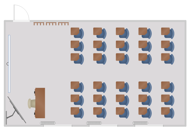 Floor plan, window, casement, wall hooks, teacher's desk, desk, screen, room, radiator, lecture hall desk, desk, flat screen, TV, door, chair,