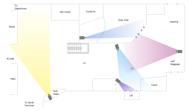 Camera layout schematic how to create cctv network diagram airport surveillance cctv cameras layout opening camera l shaped stairs l ccuart Choice Image