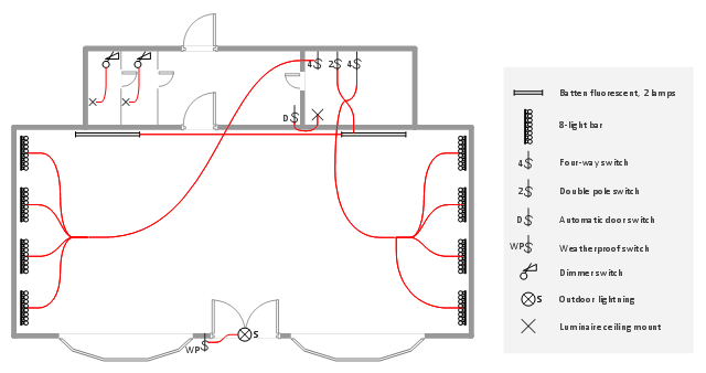 lighting and switch layout classroom lighting reflected ceiling rh conceptdraw com