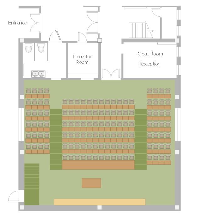 Lecture hall floor plan, window, casement, toilet, straight staircase, stair section, rectangular table, table, double door, double basin, door, chair,