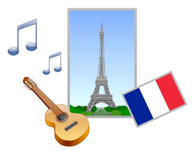 Vector clip art, note, musical, sign, acoustic guitar, guitar, France, Eiffel Tower,