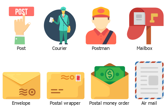 Icon set, postman, postal wrapper, postal money order, post, mailbox, envelope, courier, delivery man, air mail,
