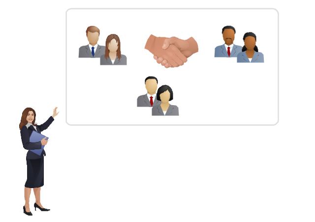 Illustration template, handshake, clerk, woman,