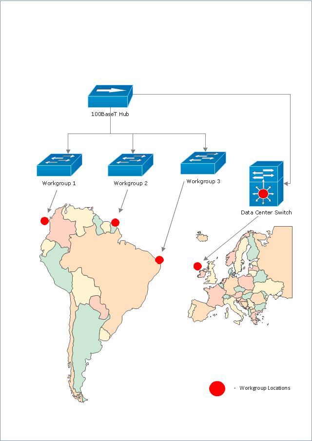 locations of workgroup and network routers cisco network topology