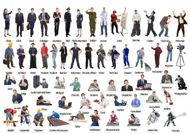 Vector clip art, worker, conveyor, man, waiter, teacher, woman, tailor, system administrator, student, guy, student, girl, spaceman, soldier, man, shop assistant, security officer, man, secretary, woman, seaman, man, reporter, woman, programmer, priest, presenter, postman, man, policeman, man, pilot, man, photographer, musician, miner, man, manager, man, lawyer, jurist, judge, hall porter, hairdresser, gardener, man, florist, flight attendant, hostess, air hostess, woman, fireman, man, engineer, man, driver, man, doctor, physician, medic, medical man, medical adviser, dispatcher, woman, dispatcher, man, director, man, dentist, cook, consultant, adviser, counselor, advisor, consultor, counsellor, clerk, woman, clerk, man, cleaner, man, chemist, cashier, carpenter, man, builder, man, biologist, athlete, sportsman, artist, architect, man, announcer, man, accountant,