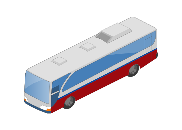 Bus isometric, bus,