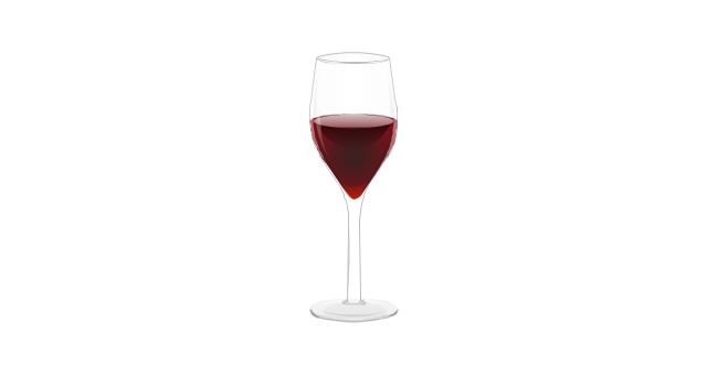 A glass of red wine, vine, wineglass,