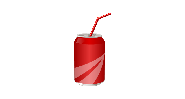 Soft drink can with straw, soda can, straw, can, drink can,