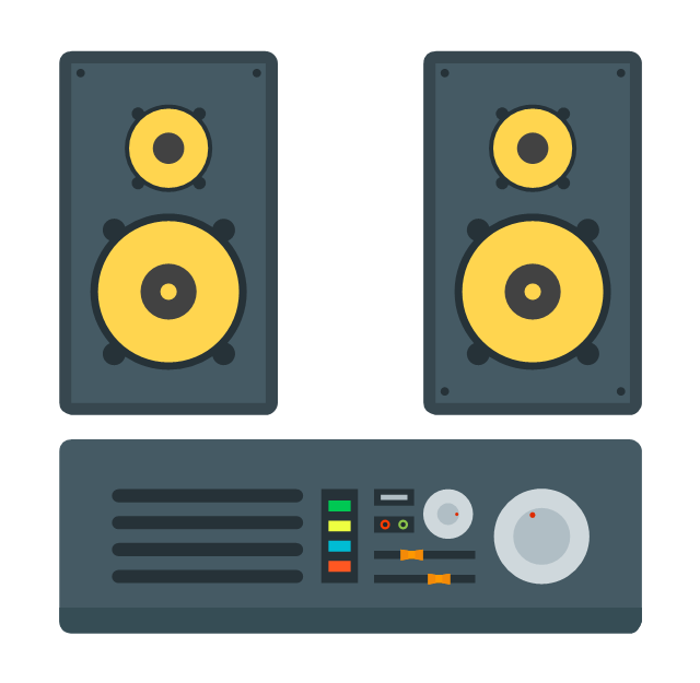 Stereo music system, stereo music system, drawing shapes,