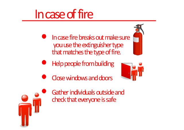 Infographics, fire extinguisher, fire door,