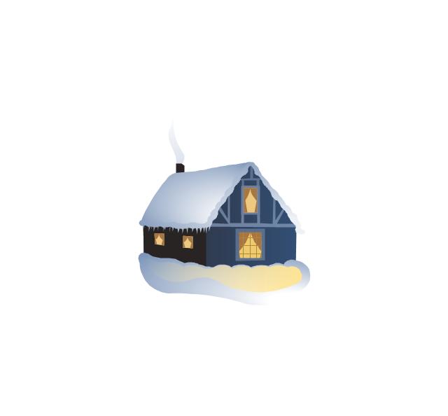 House covered with snow, house covered with snow,
