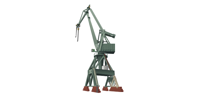 Level luffing crane, harbour crane,