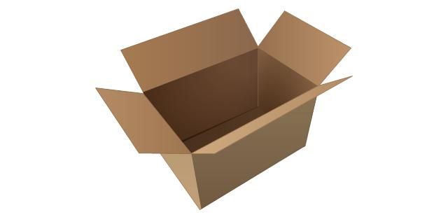 Cardboard box (open), cardboard box,
