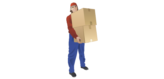 Stocker with cardboard boxes, loading workman, warehouse worker,