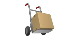 Handcart with cardboard box, delivery, sack truck, hand truck cart,