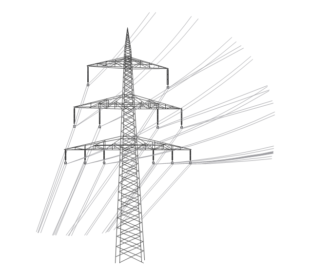 Transmission tower, cable, power line,