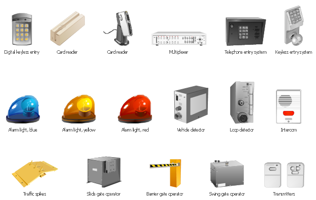 Vector clip art, vehicle detector, transmitters, traffic spikes, telephone entry system, swing gate operator, slide gate operator, multiplexer, loop detector, keyless entry system, intercom, digital, keyless entry, card reader, barrier gate operator, alarm light, yellow, alarm light, red, alarm light, blue,
