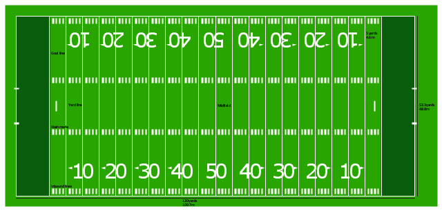 American football field diagram, horizontal colored football field,