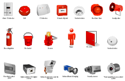 Vector clip art, thermographic, process control system, smoke detector, security camera, manual call point, detector, loudspeaker, infrared thermal imaging, infrared system, early fire detection, fire detection, high-resolution, CCD, digital, camera, fire extinguisher, fire door, emergency exit, exit, fire bucket, fire alarm control panel, fire detection, figure, man, person, bell, beacon, alarm, CO detector, Fire Alarm Siren, detector, CO detector,