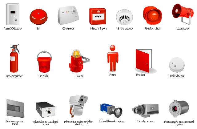 Fire Safety Equipment Vector Stencils Library Design