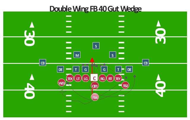 American football positions diagram, tight end, TE, safety, S, quarterback, QB, offensive tackle, T, offensive guard, G, defensive tackle, DT, cornerback, CB,