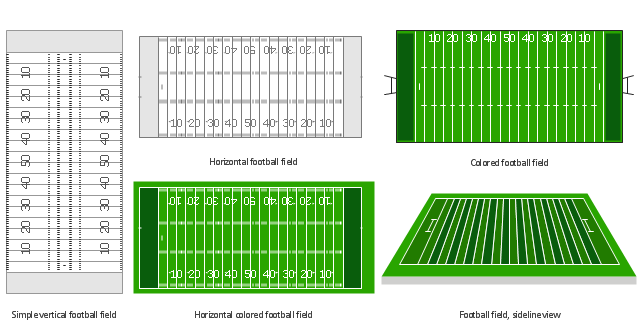American football field shapes, simple vertical football field, sideline view football field, horizontal football field, horizontal colored football field, football field,