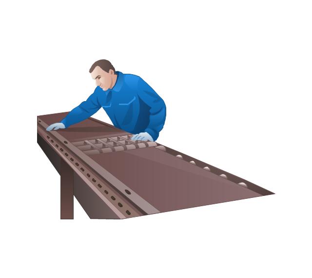 Worker of conveyor, worker, conveyor, man,