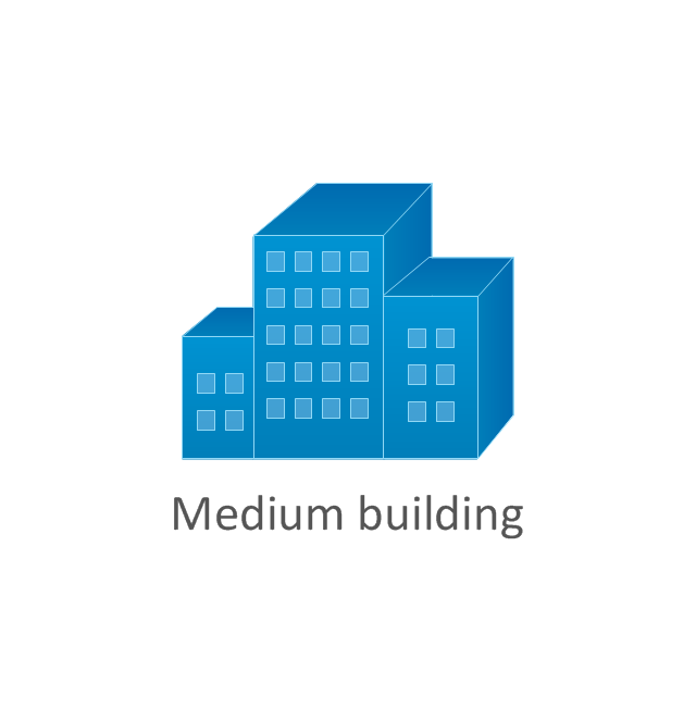 Medium building, blue, medium building,