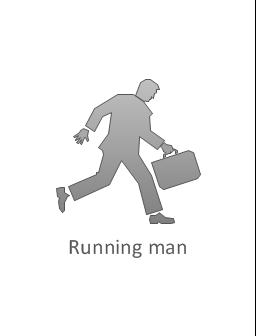 Running man, subdued, running man,