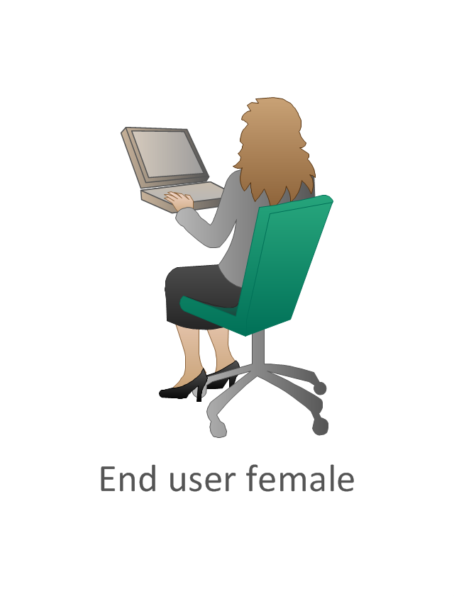 End user female, sitting woman, end user female,